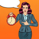 Horloge d'Art Business Woman Holding Alarm de bruit Photographie stock