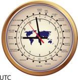 Horloge d'or avec des fuseaux horaires Photographie stock