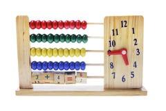horloge d'enfants d'abaque en bois Image stock