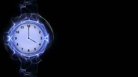 Horloge dans les fibres, concept de temps, infographies Photos stock
