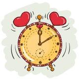 Horloge de bande dessinée de vecteur avec des coeurs Illustration Stock