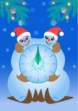 Horloge de bonhommes de neige Photos libres de droits