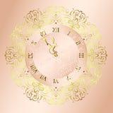 Horloge de cru avec le fond d'ornement floral illustration de vecteur