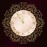 Horloge de cru avec le fond d'ornement floral illustration libre de droits