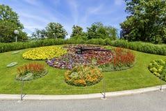 Horloge de fleur, Genève, Suisse Images libres de droits