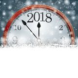 Horloge 2018 de flocons de neige de Gray Christmas Card Cover Winter Photo libre de droits