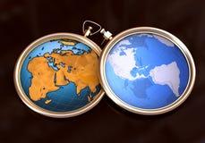 Horloge de globe sur la carte Images libres de droits