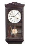 Horloge de mur antique d'isolement sur le blanc image stock