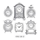Horloge de vintage de croquis Photographie stock