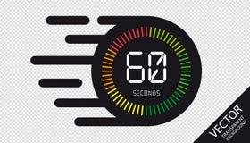 Horloge de vitesse icône plate de 60 secondes - illustration de vecteur - d'isolement sur le fond transparent illustration de vecteur