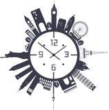 Horloge de voyage en noir et blanc Photos libres de droits