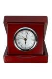 Horloge en bois d'isolement image stock