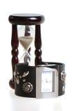 Horloge en sandglass Stock Afbeelding