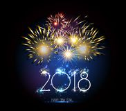 Horloge et feu d'artifice de la bonne année 2018 Photo libre de droits