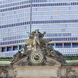 Horloge et statue sur la station centrale grande à New York City Photographie stock