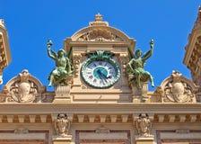 Horloge grande de casino du Monaco Photographie stock libre de droits