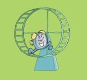 Horloge heureuse fonctionnant sur une roue de hamster Illustration de Vecteur