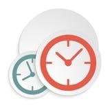 Horloge-icône--blanc-fond Photographie stock
