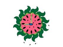 Horloge illustrée de pastèque Photo stock