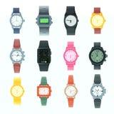 Horloge klokte de het vector bedrijfspolshorloge of klok van de manierpols met uurwerk en wijzerplaat op tijd met uur of minuut stock illustratie
