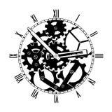 Horloge mécanique noire et blanche Photos libres de droits