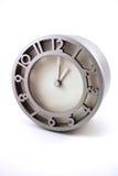 Horloge métallique argentée Photographie stock