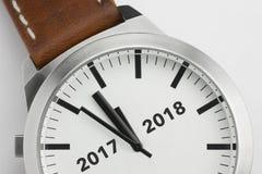 Horloge met tekst 2017 2018 Stock Fotografie
