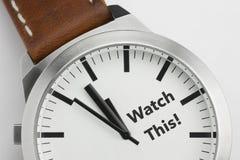 Horloge met teksthorloge dit Stock Foto