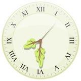Horloge montrant l'heure de la terre Flèches sous forme d'arbre Images stock