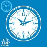 Horloge murale simple de vecteur avec le blanc stylisé dans le sens des aiguilles d'une montre, v inverti illustration stock