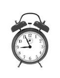 Horloge noire de cloche (réveil) d'isolement sur le blanc Images libres de droits