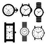 Horloge noire de vecteur Photos stock