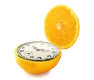 Horloge orange Photo stock
