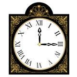Horloge richement décorée noire d'antiquité, visage d'horloge avec les nombres romains, objet d'isolement d'art déco avec en fili illustration libre de droits