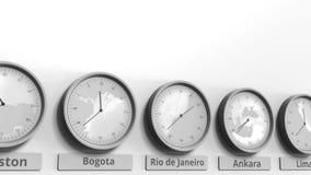 Horloge ronde montrant Rio de Janeiro, temps du Brésil dans des fuseaux horaires du monde Animation 3D conceptuelle banque de vidéos