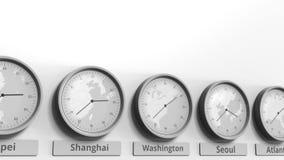Horloge ronde montrant Washington, C.C, temps des Etats-Unis dans des fuseaux horaires du monde Animation 3D conceptuelle banque de vidéos