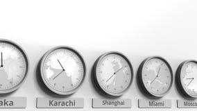 Horloge ronde temps montrant Changhaï, Chine dans des fuseaux horaires du monde Animation 3D conceptuelle clips vidéos