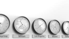 Horloge ronde temps montrant Los Angeles, Etats-Unis dans des fuseaux horaires du monde Animation 3D conceptuelle clips vidéos