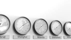 Horloge ronde temps montrant Manille, Philippines dans des fuseaux horaires du monde Animation 3D conceptuelle banque de vidéos