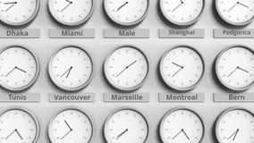 Horloge ronde temps montrant Marseille, France dans des fuseaux horaires du monde animation 3D banque de vidéos