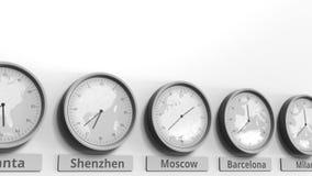 Horloge ronde temps montrant Moscou, Russie dans des fuseaux horaires du monde Animation 3D conceptuelle banque de vidéos