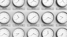 Horloge ronde temps montrant Munich, Allemagne dans des fuseaux horaires du monde animation 3D clips vidéos