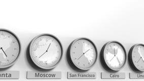 Horloge ronde temps montrant San Francisco, Etats-Unis dans des fuseaux horaires du monde Animation 3D conceptuelle banque de vidéos