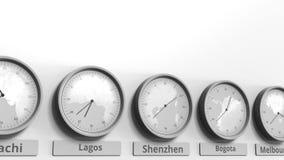 Horloge ronde temps montrant Shenzhen, Chine dans des fuseaux horaires du monde Animation 3D conceptuelle banque de vidéos