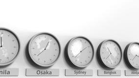 Horloge ronde temps montrant Sydney, Australie dans des fuseaux horaires du monde Animation 3D conceptuelle banque de vidéos
