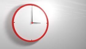Horloge rouge 3d Photo libre de droits