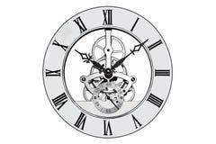 Horloge squelettique d'isolement sur le blanc avec le chemin de coupure. Image stock
