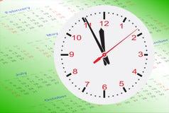 Horloge sur le calendrier Images stock