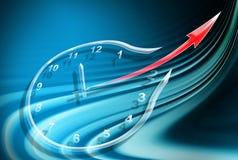 Horloge sur le fond bleu abstrait Photos libres de droits