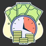 horloge sur le fond des pièces d'or et la monnaie fiduciaire, concept de date-butoir et investissement à long terme ou prêt illustration stock